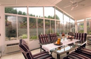Interior of sunroom with dining table